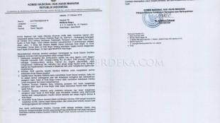 Surat Teguran Komnas HAM kepada Bima Arya 27 Oct 2015