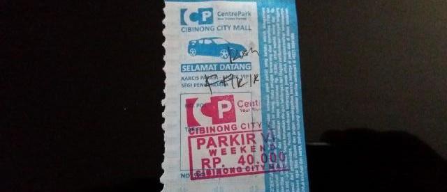 Karcis Parkir VIP di Cibinong City Mall (dok. KM)