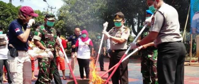Pemusnahan narkoba jenis ganja oleh Polres Bogor, 24/3 (dok. KM)