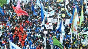 Ilustrasi Demo Buruh di Indonesia (stock)