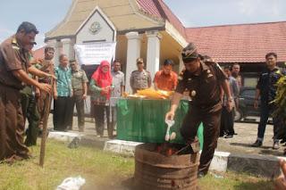 Kejaksaan Negeri Putussibau membakar barang bukti dari 20 kasus narkoba tahun 2015 di Putussibau, Sabtu 14/5 (dok. KM)
