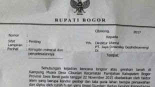 Surat Bupati Bogor yang ditujukan kepada pimpinan PT. JDG tidak bernomor (dok. KM)