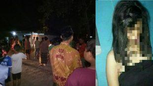 (Kanan) Puluhan Warga menyaksikan evakuasi korban gantung diri dari dalam rumah kost H. Daisyah, Jl.Tentara Pelajar, Brebes. (Kiri) Korban gantung diri. (dok. KM)