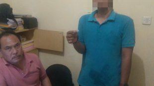 Pemuda yang diduga pengedar sabu di Mapolsek Neglasari, Tangerang (KM)