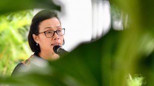 Menteri Keuangan Sri Mulyani memberi keterangan pers di Istana Kepresidenan Bogor, Jawa Barat, 12/3/2018 (dok. KM)
