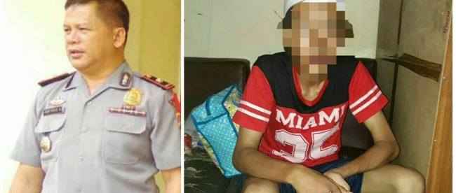 Kapolsek Kemang, Bogor, Kompol Ade, dan tersangka pelaku pembacokan, ST (dok. KM)