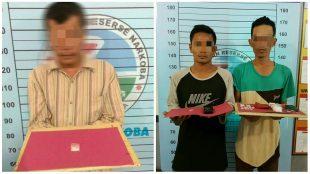 Seorang Pria paruh baya pelaku Narkoba jenis sabu, berinisial TA (53) Asal Mon Geudong, Kecamatan Banda Sakti Lhoksemawe, saat berada di ruang Satres narkoba Polres Aceh Utara (dok. KM)