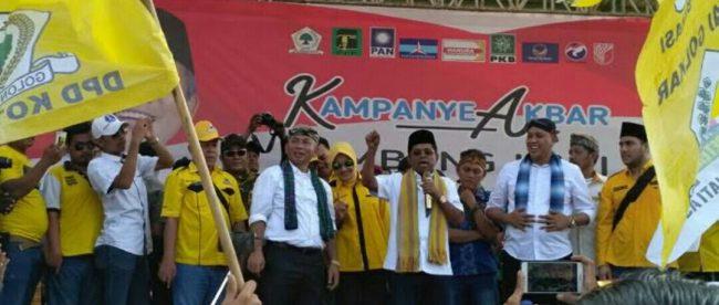 Politisi Partai Golkar dan Mensos RI Idrus Marham menjadi juru kampanye paslon HATI di Kota Bekasi, Sabtu 5/5 (dok.KM)