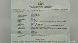Laporan polisi dalam kasus penganiayaan yerhadap penagih hutang di Jakarta (dok. KM)