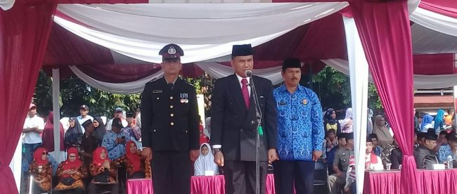 Inspektur upacara pada peringatan HUT ke-73 Kemerdekaan Indonesia di Kecamatan Sawangan, Depok, 17/8/2018 (dok. KM)
