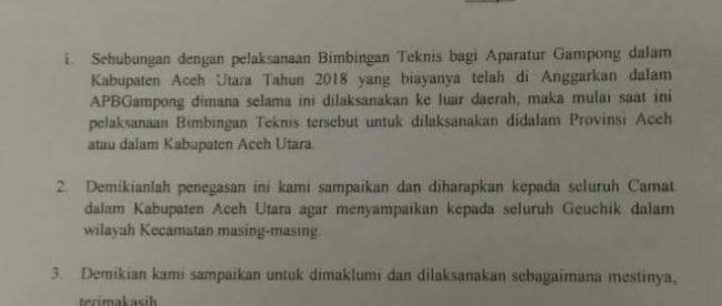 Surat edaran Bupati Aceh Utara terkait penegasan tentang pelaksanaan Bimtek Aparatur Gampong. (dok. KM)