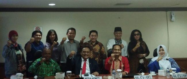 Pimpinan sejumlah organisasi pers saat audiensi dengan Komisi I DPD RI, Selasa 28/8 (dok. KM)