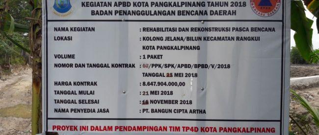 Papan nama proyek di Kolong Jelana, Pangkalpinang (dok. KM)