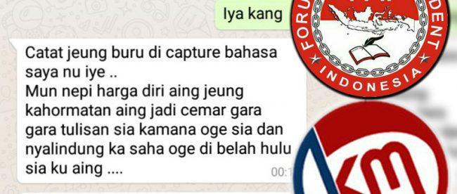 Tangkapan layar dari pembicaraan WhatsApp antara wartawan KM, Dody Kurniawan, dengan caleg Partai Golkar Kota Bogor Dian Ardiansyah yang berisi pengancaman (dok. KM)