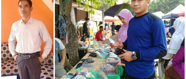 (kiri) Ketua RW 02 Bedahan, Maralih, saat ditemui KM. (kanan) Warga sedang belanja di bazar di Kelurahan Bedahan, Sawangan (dok. KM)