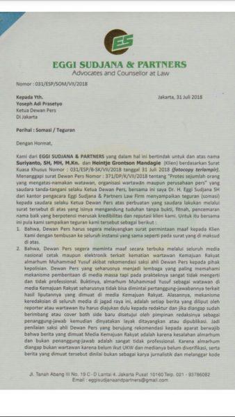 Surat somasi Sekber Pers Indonesia kepada Dewan Pers (dok. KM)