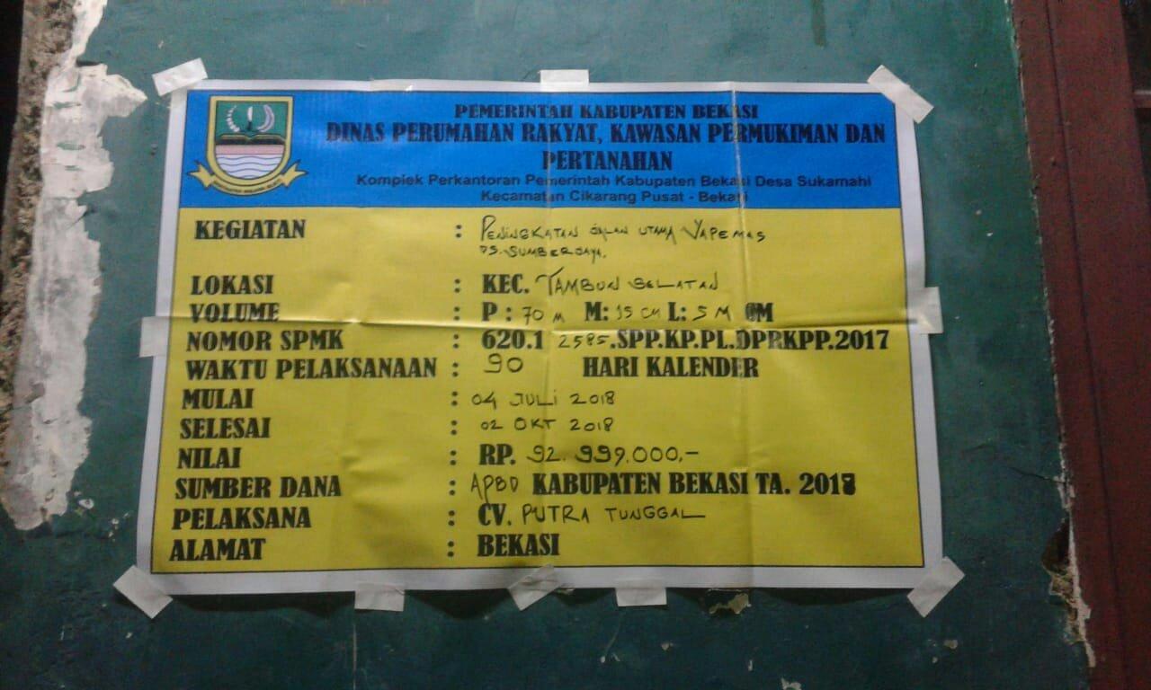 Papan proyek pekerjaan pengecoran jalan di Desa Sumber Jaya, Kecamatan Tambun Selatan, Kabupaten Bekasi  (dok. KM)