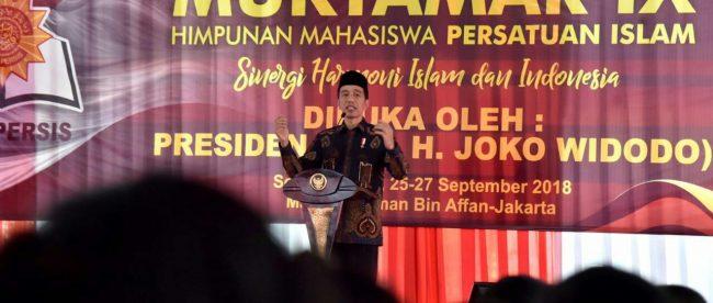 Presiden Joko Widodo membuka Muktamar IX HIMA-PERSIS di Jakarta, 25/9/2018 (dok. Setpres)