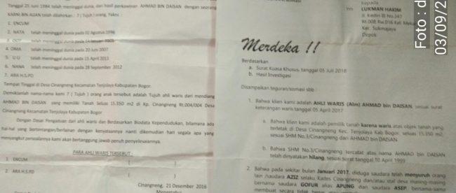 Surat somasi yang diterima Kepala Desa Cinangneng, Kecamatan Tenjolaya, terkait sengketa lahan (dok. KM)