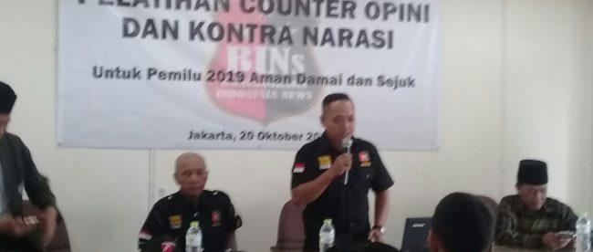 Ketua pelaksana kegiatan pelatihan Satgas Nusantara, Arief Lukmanul Hakiem, pada Pelatihan Counter Opini dan Kontra Narasi untuk Pemilu 2019 yang aman, damai dan sejuk di Gedung Tribun, Jakarta 20/10/2018 (dok. KM)