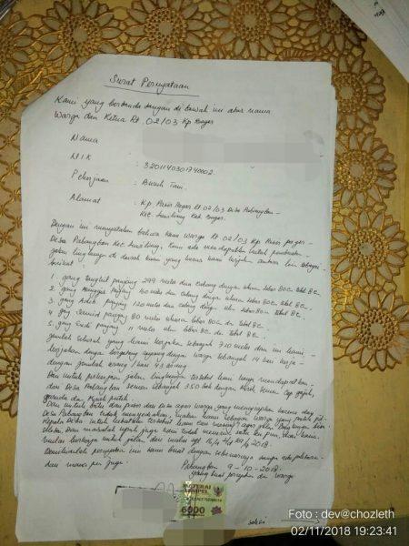 Surat pernyataan dari warga Desa Pabangbon, Kecamatan Leuwiliang, yang mengklaim pihak Pemdes hanya berikan bantuan semen untuk proyek jalan lingkungan (dok. KM)