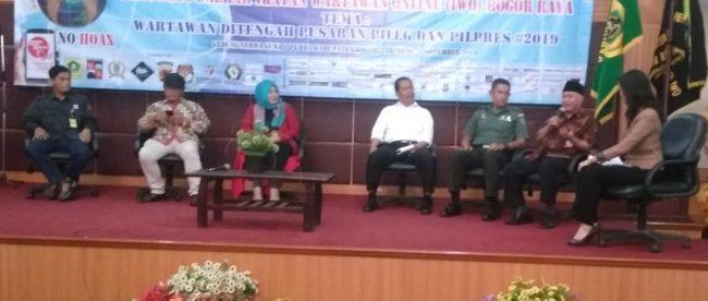 Diskusi publik pada acara pelantikan pengurus IWO Bogor Raya di Cibinong, Bogor, Senin 5/11/2018 (dok. kM)