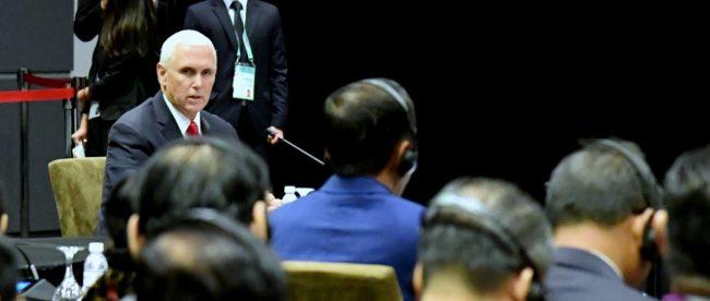Wakil Presiden Amerika Serikat Mike Pence di KTT ASEAN-Korea, Singapura 14/11/2018 (dok. Setpres)