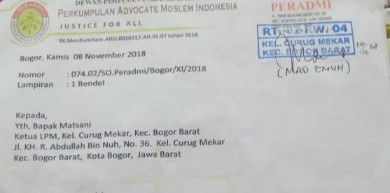 Surat Somasi 1 kepada Ketua LPM Curug Mekar, Kecamatan Bogor Barat, Kota Bogor (dok. KM)