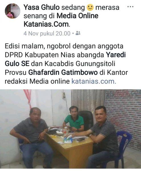 Pemimpin Redaksi KataNias.com, Yasa Ghulo (dok. KM)