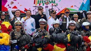 Ketua DPR RI Bambang Soesatyo menghadiri Touring Lintas Milenial dan Road Safety Festival 2019, yang diadakan oleh Polda Metro Jaya, di Jakarta, Sabtu 16/03/2019.