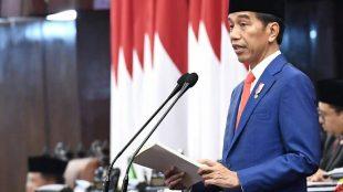 Presiden Joko Widodo menyampaikan Pidato RUU APBN Tahun Anggaran 2020 pada Rapat Paripurna Pembukaan Masa Sidang I DPR RI Tahun Sidang 2019-2020 di Gedung Nusantara MPR/ DPR/ DPD RI, Jakarta, Jumat, 16/8/2019.
