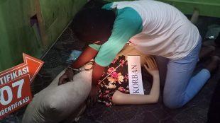 Rekonstruksi pembunuhan dan pemerkosaan terhadap Nadia (14), gadis warga Kecamatan Sei Tualang Raso, Tanjungbalai, Minggu 8/3/2020 (dok. KM)