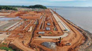 Pembangunan Terminal Kijing yang terletak di Kabupaten Mempawah, Kalimantan Barat, ditargetkan beroperasi akhir 2020 (dok. Humas Ditjen Perhubungan Laut)