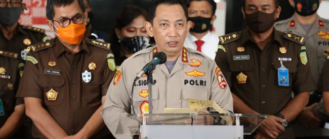 Jumpa Pers Kasus Kebakaran Kejagung di Gedung Bareskrim Polri Jakarta Selatan Kamis Siang (17/09/2020) (dok. Hari Setiawan Muhammad Yasin/KM)