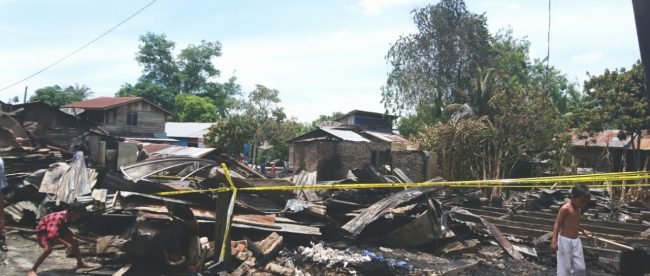 Lokasi kebakaran di Kelurahan Sei Merbau, Kecamatan Teluk Nibung, Tanjungbalai, Senin 28/9/2020 (dok. KM)