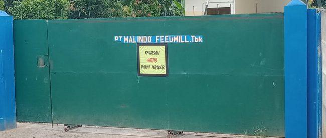 Gerbang pabrik PT. Malindo Feedmill Tbk di Desa Wirana, Kecamatan Pamarayan, Serang (dok. KM)