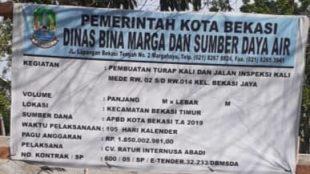 Papan nama proyek tahun anggaran 2019, yang dimenangkan oleh CV. Ratur Internusa Abadi melalui proses lelang (dok. KM)