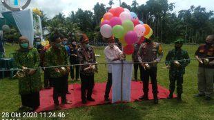Komisioner Bawaslu beserta Forkompida Kabupaten Bengkulu Selatan lakukan Launching Desa Anti Politik Uang (APU) di Kecamatan Pino