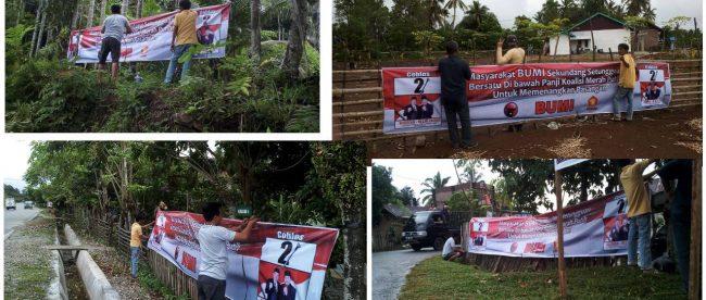 Tim Pemenangan Budi-Helmi pasang sepanduk di setiap Kecamatan