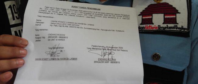 Laporan pengaduan yang diajukanoleh LSM Gapura kepada Polres Sukabumi (dok. KM)