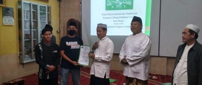 Penyerahan SK Lembaga di Bawah PCNU Kota Bogor, Jumat 6/11/2020 (dok. KM)