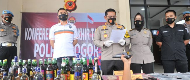 Konfrerensi pers Kapolres Bogor, Seasa 29/12/2020 (dok. KM)