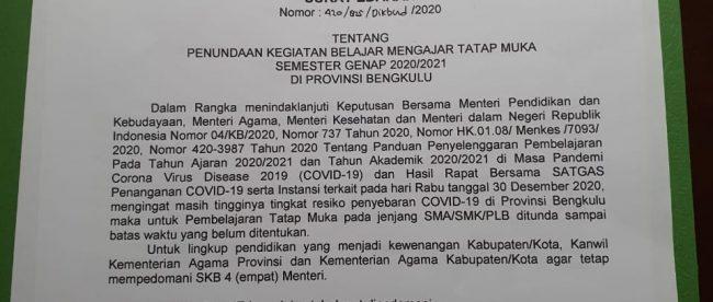 Surat Edaran Gubernur Bengkulu