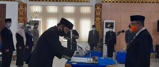 Pelantikan dan pengambilan sumpah pejabat administrator (eselon III dan IV) di lingkungan Pemda Lampung Utara, Selasa 12/1/2021 (dok. KM)