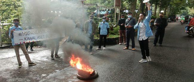 Aksi unjuk rasa DPD Mapancas Kota Bogor di BGC Jalan Semeru Kecamatan Bogor Barat Kota Bogor Rabu 27/1/2021 (dok. KM)