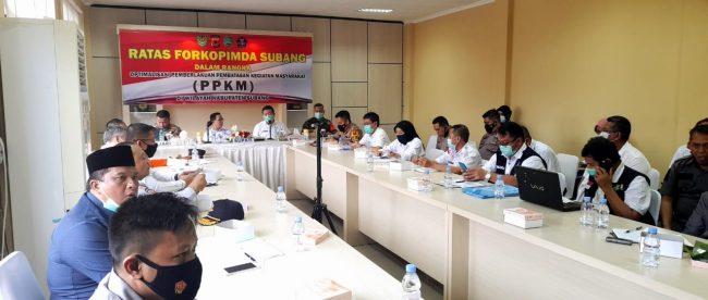 Rapat Terbatas Forkopimda Subang di Ruang Vicon Kapolres Subang, Rabu 3/2/2021 (dok. KM)