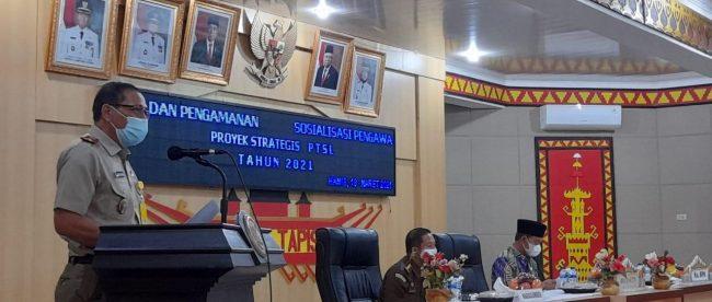 sosialisasi Pengawalan dan Pengamanan Proyek Strategis PTSL di ruang Tapis Pemkab Lampura, Kamis 18/3/2021 (dok. KM)