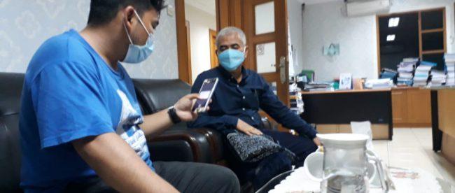 Wawancara dengan Direktur Utama PDAM Kabupaten Bogor Hasanudin Taher di Gedung PDAM Kabupaten Bogor, Selasa siang 30/3/2021 (dok. Hari Setiawan Muhammad Yasin/KM)