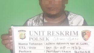 """Adam Ibrahim, penyebar kabar tentang """"babi ngepet"""" di Bedahan, Depok, diamankan oleh Polisi (dok. KM)"""