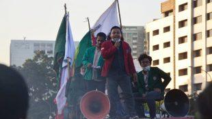 Ilustrasi aksi unjuk rasa mahasiswa (stock)